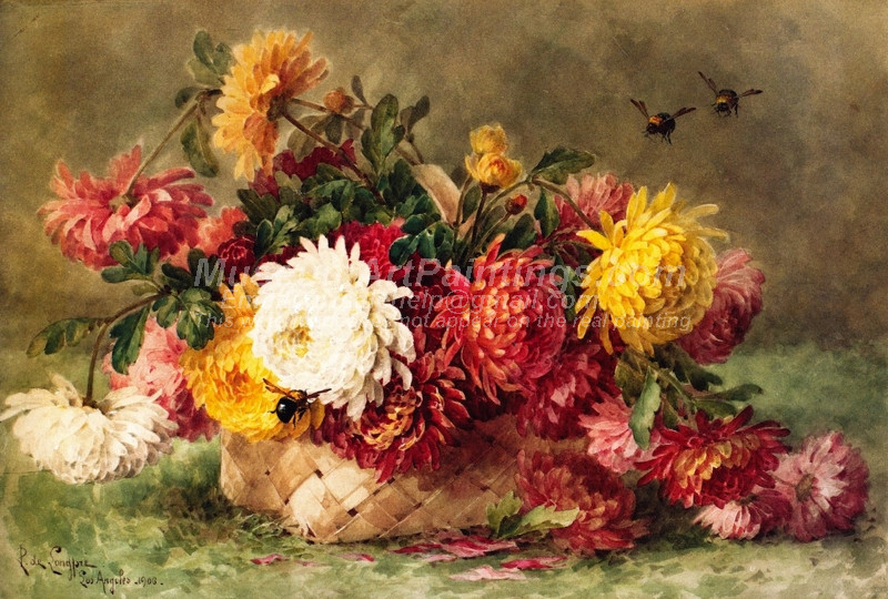 Chrysanthemums in a Woven Basket