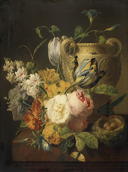 Classical Flower Oil paintings Flowers by a Stone Vase