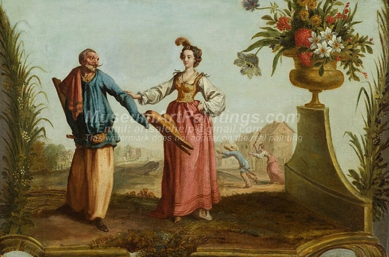 Classical Paintings Pullichinello and Lucretia
