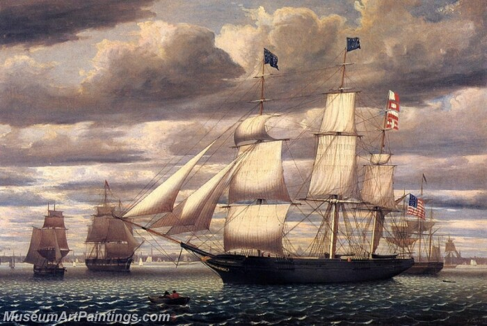 Clipper Ship Southern Cross Leaving Boston Harbor Painting