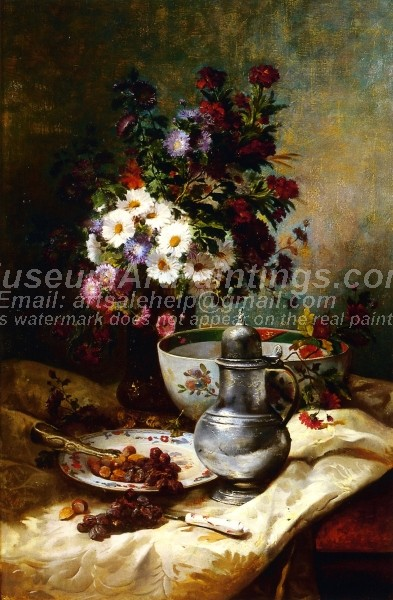 Country Bouquet with a Place of Raisins and Hazelnuts Painting