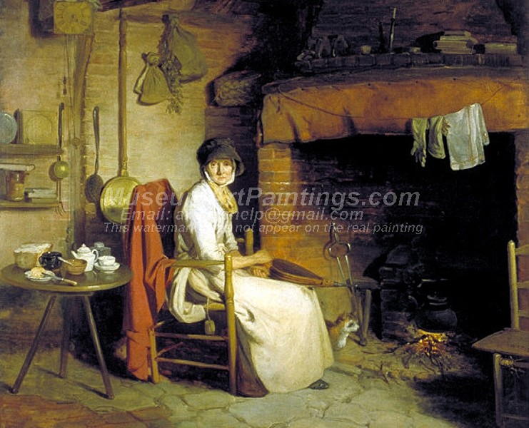 Countryside Paintings A Cottage Interior An Old Woman Preparing Tea