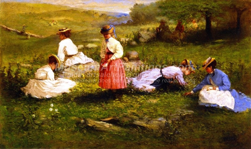 Countryside Paintings Young Girls Picking Flowers