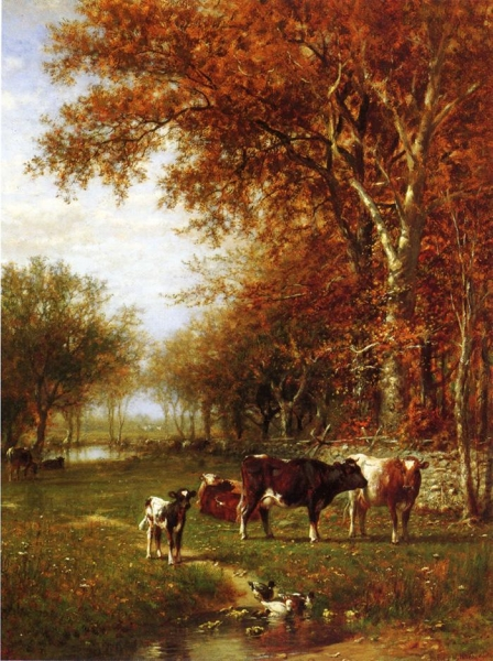 Cows before a Watering Hole by James McDougal Hart
