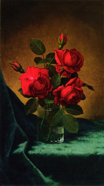 Crimson Roses in a Glass by Martin Johnson Heade