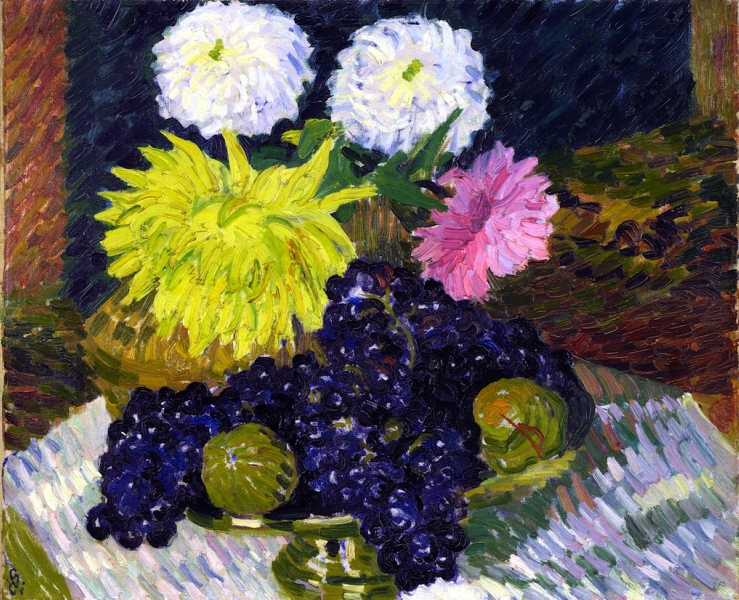 Dahlias and Grapes by Giovanni Giacometti