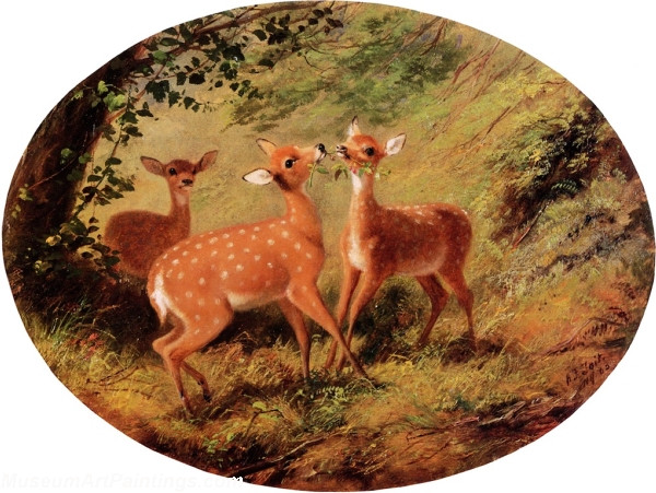 Deer Landscape Paintings Three Fawns