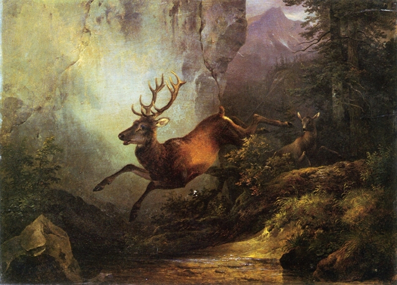 Deer Running through a Forest by Friedrich Gauermann