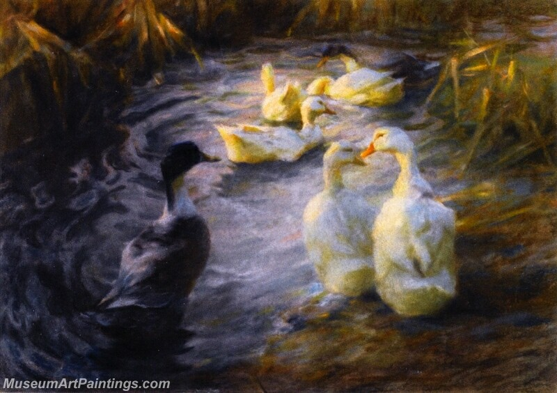 Ducks among the Reeds in a Pond Painting