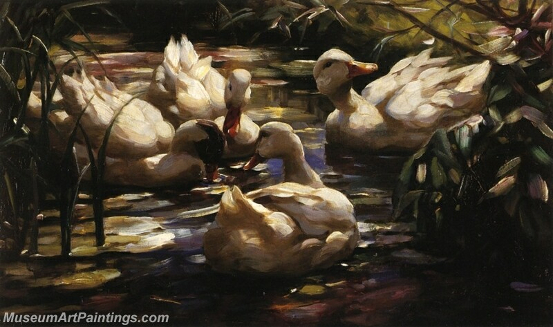 Ducks in a Forest Pond Painting