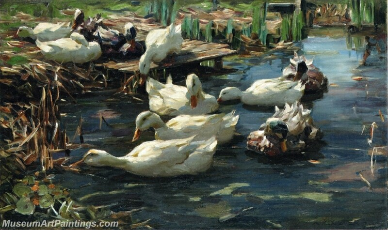 Ducks in a Quiet Pool Painting