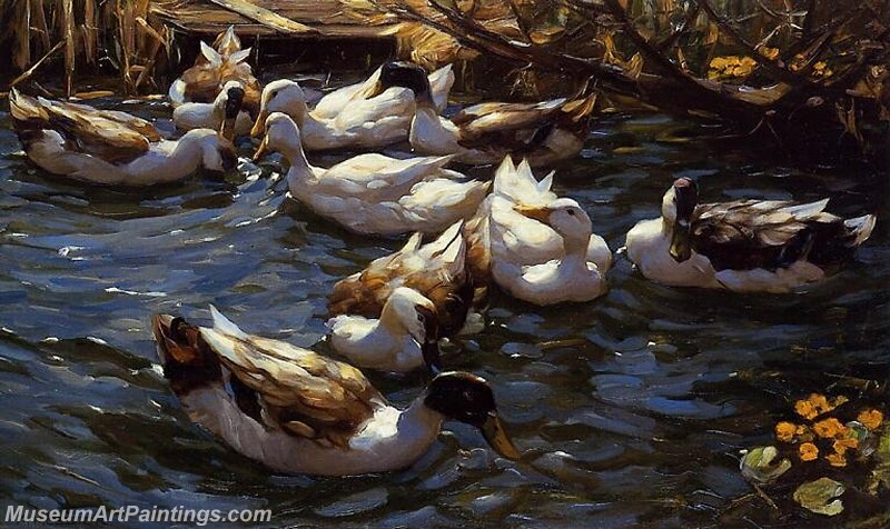 Ducks in the Reeds under the Boughs Painting
