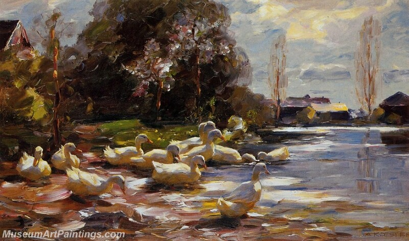 Ducks on a Riverbank on a Sunny Afternoon Painting
