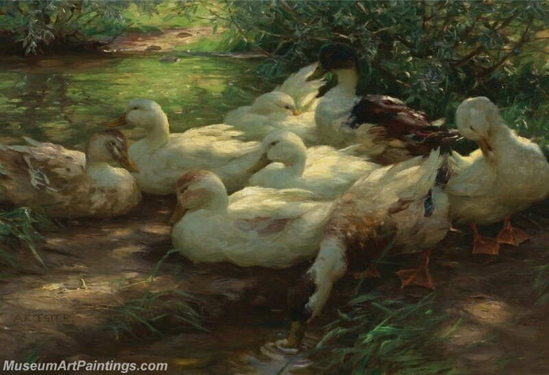 Eight Ducks on the Riverbank Painting