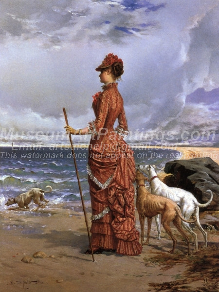 Elegant Lady Walking Her Greyhounds on the Beach
