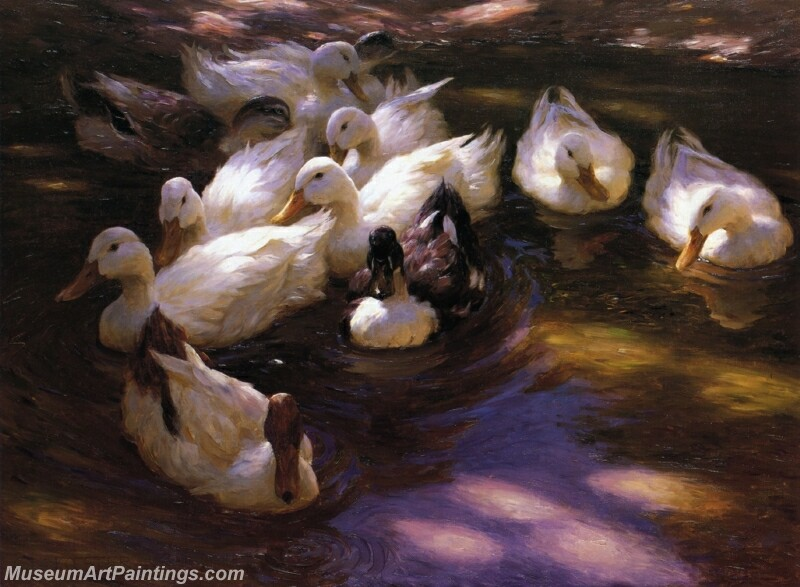 Eleven Ducks in the Morning Sun Painting