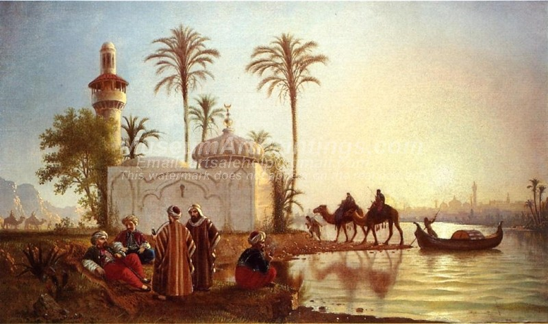Evening Smoke by the Mosque Painting Fortunato Arriola