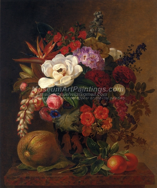 Exotic Blooms in a Grecian Urn with Fruit on a Marble Ledge
