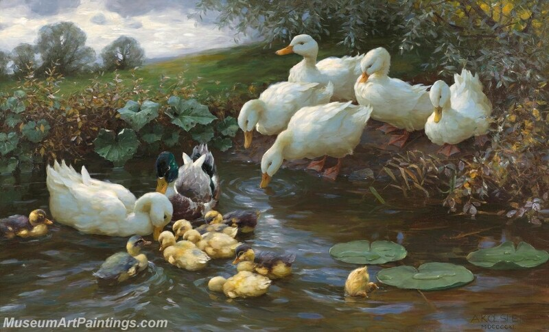 Family of ducks at the water Painting