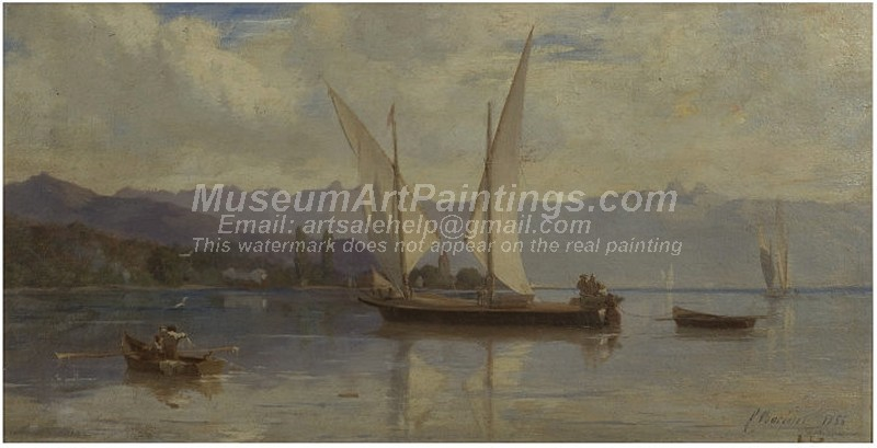 Famous Boat Paintings Lake Geneva with Sailing Boats