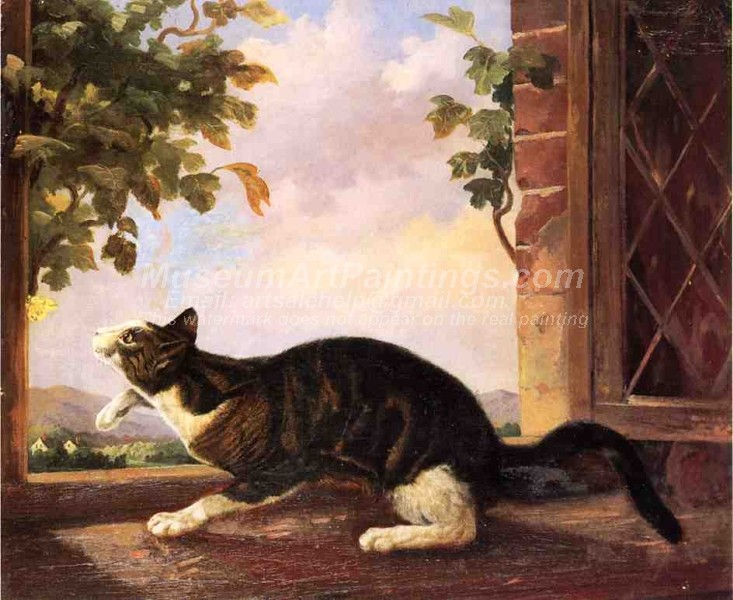 Famous Cat Paintings Cat Stalking a Butterfly