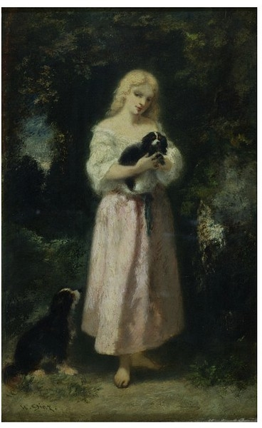 Famous Countryside Paintings Girl with dogs