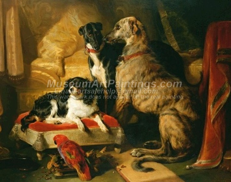 Famous Dog Paintings Hector Nero and Dash with the parrot Lory