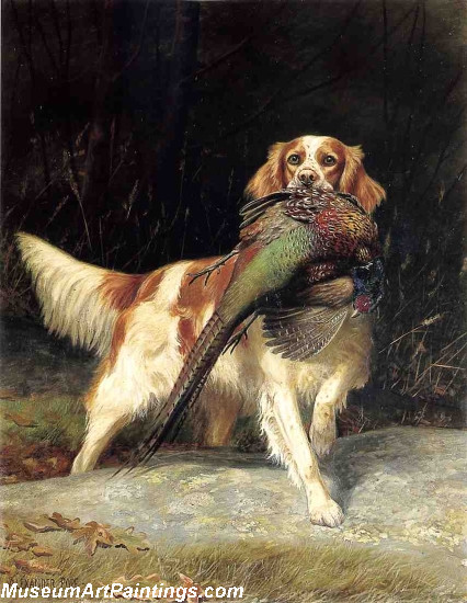 Famous Dog Paintings Springer Spaniel with Pheasant