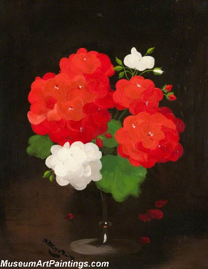 Famous Flower Paintings Flower Study Red and White Geraniums