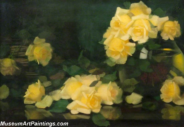 Famous Flower Paintings Green and Yellow Roses