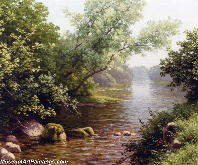 Famous Landscape Paintings A River Scene in France