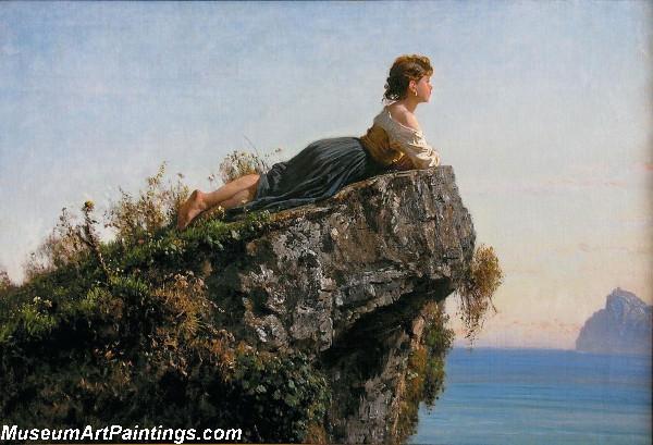 Fanciulla sulla roccia a Sorrento by Filippo Palizzi