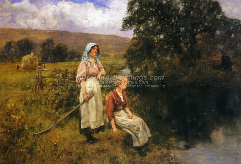 Farm Girls by a Stream by Henry John Yeend King