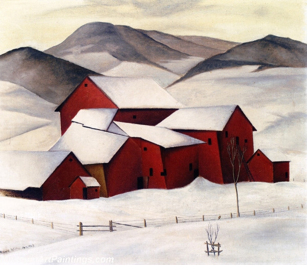 Farm in a Winter Landscape Painting