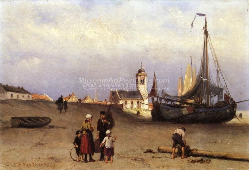 Fisher Folk and Beach Bomschuiten near Katwijk