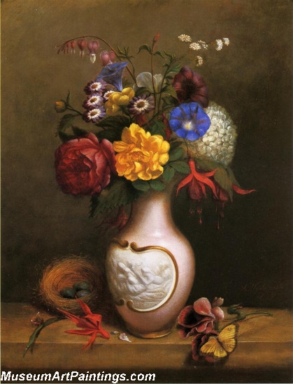 Floral Arrangement with Birds Nest Painting