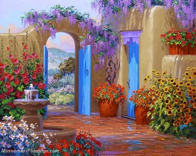 Flower garden oil painting 010 for Garden painting images
