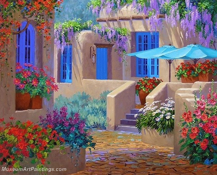 Flower garden oil painting 015 for Garden painting images