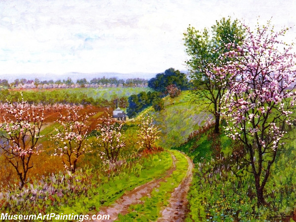 Flower Garden Paintings Road with Blossoming Trees