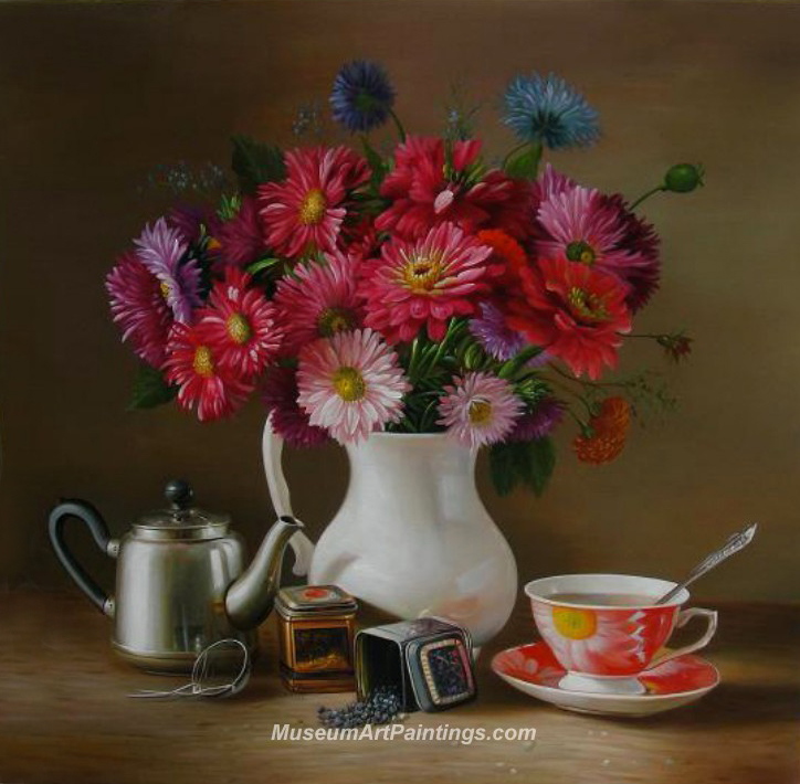 Flower Oil Painting Chrysanthemum with Still Life