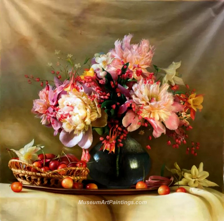 Flower Oil Painting Peonies and Cherries