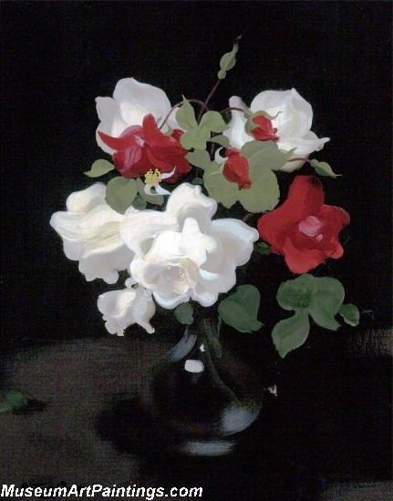 Flower oil painting red and white roses 1 mightylinksfo