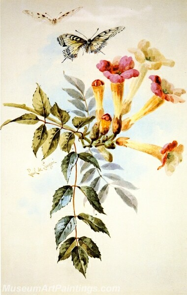 Flower Painting Arrangement of Trumpet Flowers