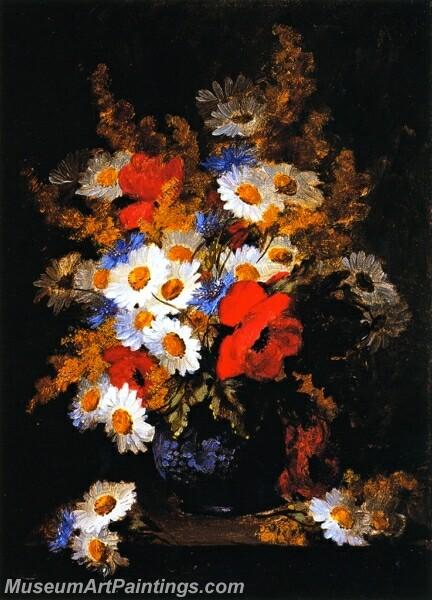Flower Painting Daisies Poppies and Cornflowers