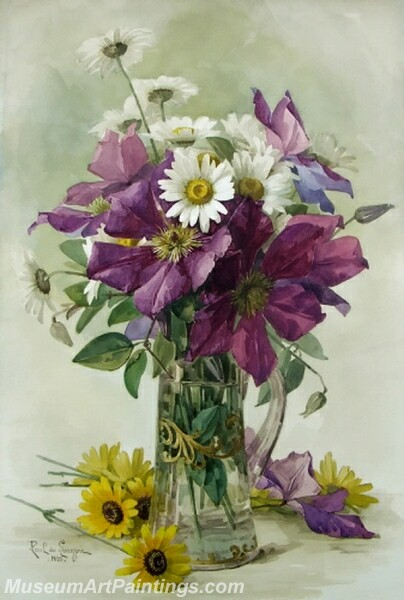 Flower Painting Large Purple Clematis and White Daisies