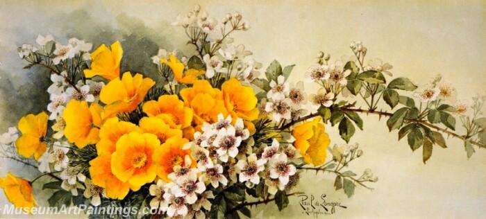 Flower Painting Poppies and Wild Blackberries