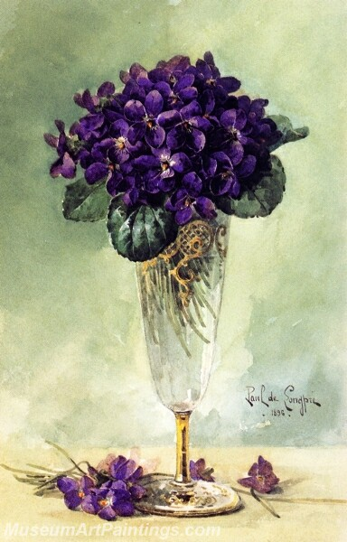 Flower Painting Violets in a Glass Goblet