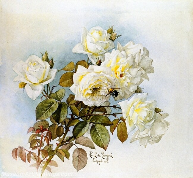 Flower Painting White Roses and Bumblebees