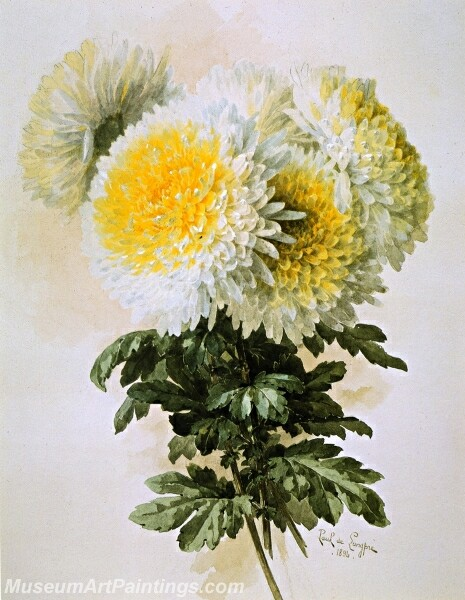 Flower Painting White and Yellow Mums