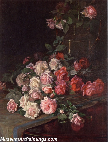 Flower Paintings Roses and Mahogany